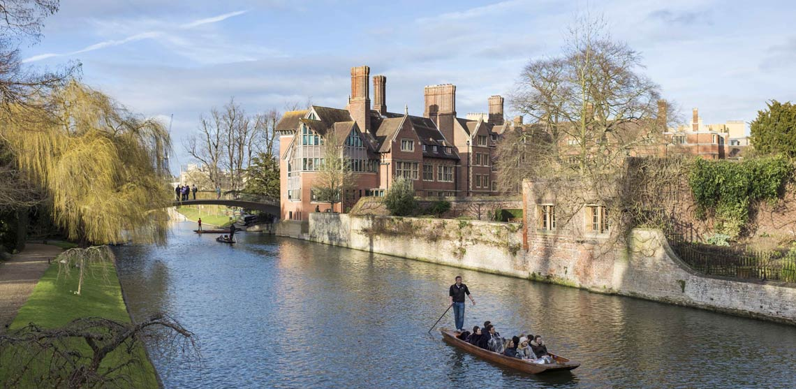 View from one of the bridges over the river Cam looking onto the Backs of the Colleges of Cambridge University