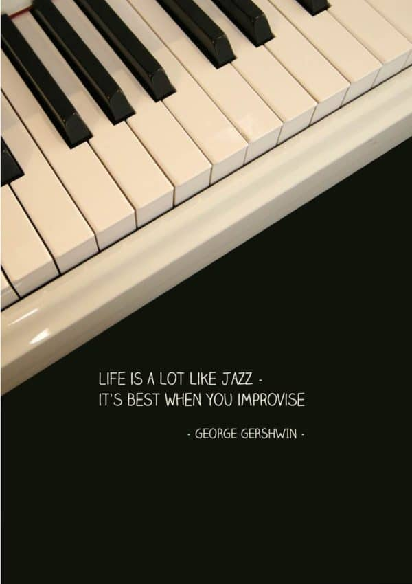An Inspirational Greeting Card Featuring a Piano and a Quote from George Gershwin