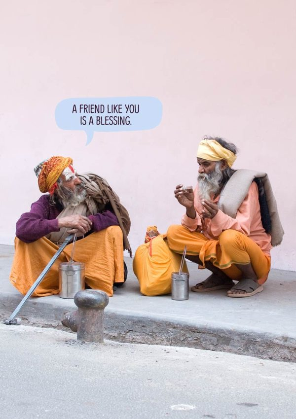 Two pilgrims in Haridwar in India, chatting