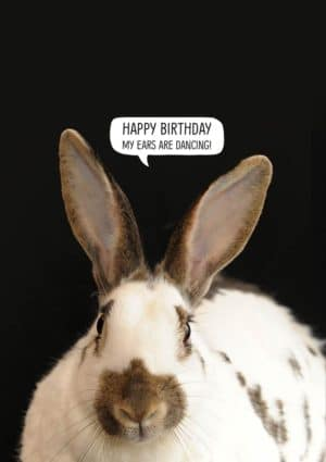Birthday card with a rabbit and a speech bubble