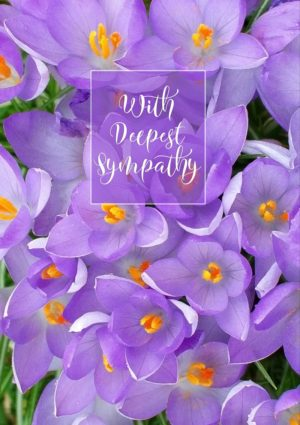 A gentle Sympathy card featuring crocuses and text 'With Deepest Sympathy'