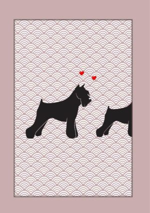 a dog with tiny hearts swirling around its head and looking amorously at another dog
