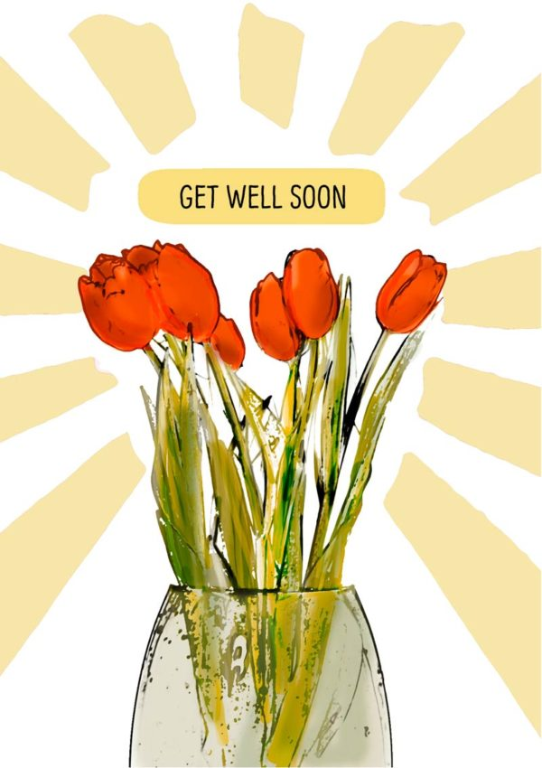 a vase of flowers with rays radiating out like the sun and text, 'Get Well Soon'