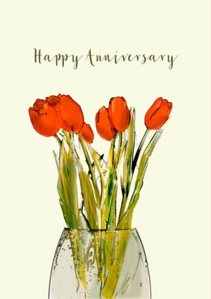 red tulips in a vase and the words 'Happy Anniversary'.