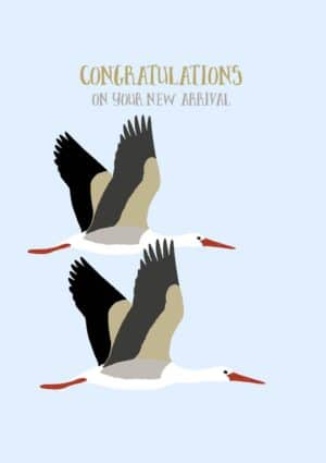 two storks in flight with text, 'Congratulations On Your New Arrival'
