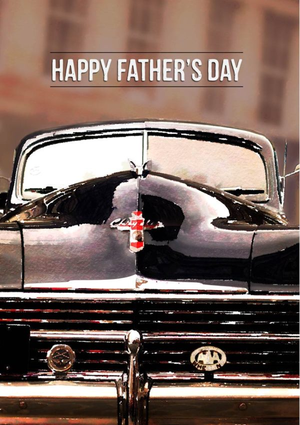 Vintage Chrysler automobile and text, 'Happy Father's Day'