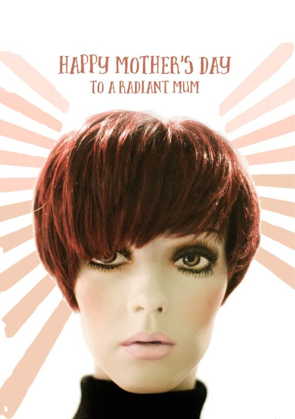 Young trendy mum with a starburst behind her head and text, 'Happy Mother's Day To A Radiant Mum'