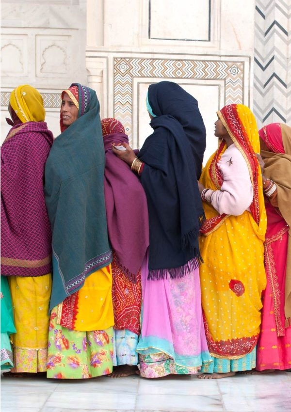 A greeting card featuring village women lined up to visit the Taj Mahal.