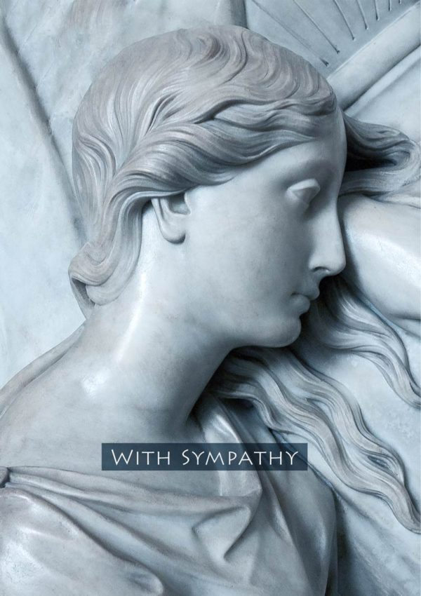A sympathy card with a classic, sculptured figure of a woman and text, 'With Sympathy'