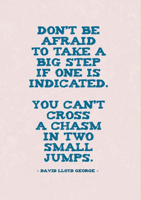 a quotation from the British Prime Minister David Lloyd George, 'Don't be afraid to take a big step if one is indicated. You can't cross a chasm in two small jumps.'