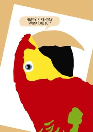 A Green Winged macaw and text 'Happy Birthday - Wanna Hang Out?'