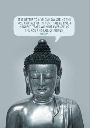 Seated buddha and a quote from the Buddha, 'It is better to live one day seeing the rise and fall of things, than to live a hundred years without ever seeing the rise and fall of things.'