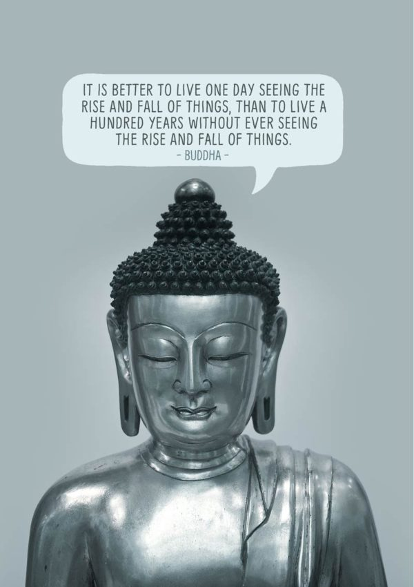 An Inspirational greeting card featuring a seated buddha and a quote from the Buddha, 'It is better to live one day seeing the rise and fall of things, than to live a hundred years without ever seeing the rise and fall of things.'