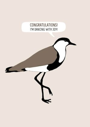 A plover standing on one foot and text 'Congratulations - I'm Dancing With Joy'