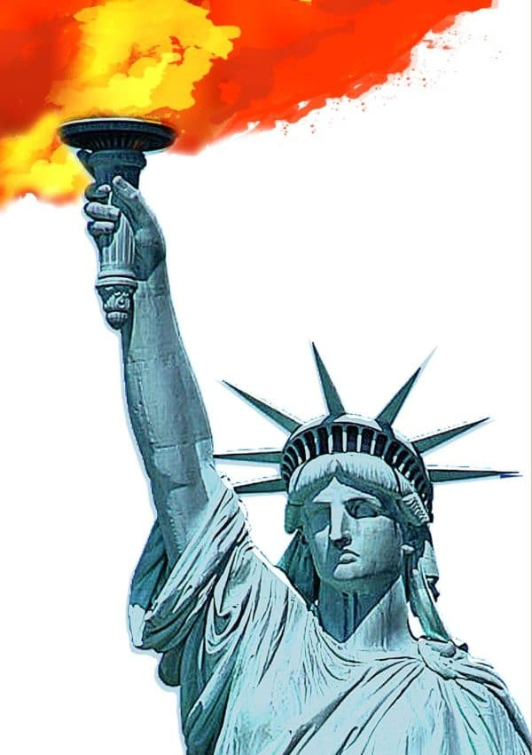 Liberty, the statue that stands at the entrance to Manhattan in New York. with a quote from Emma Lazarus: 'Give me your tired, your poor, your huddled masses yearning to breathe free.'