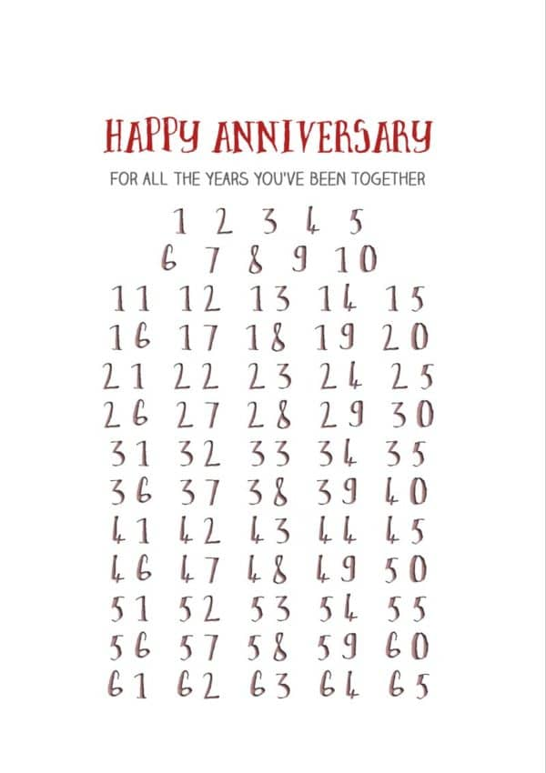 Numbers from one through sixty five and the text, 'Happy Anniversary - For All The Years You've Been Together'