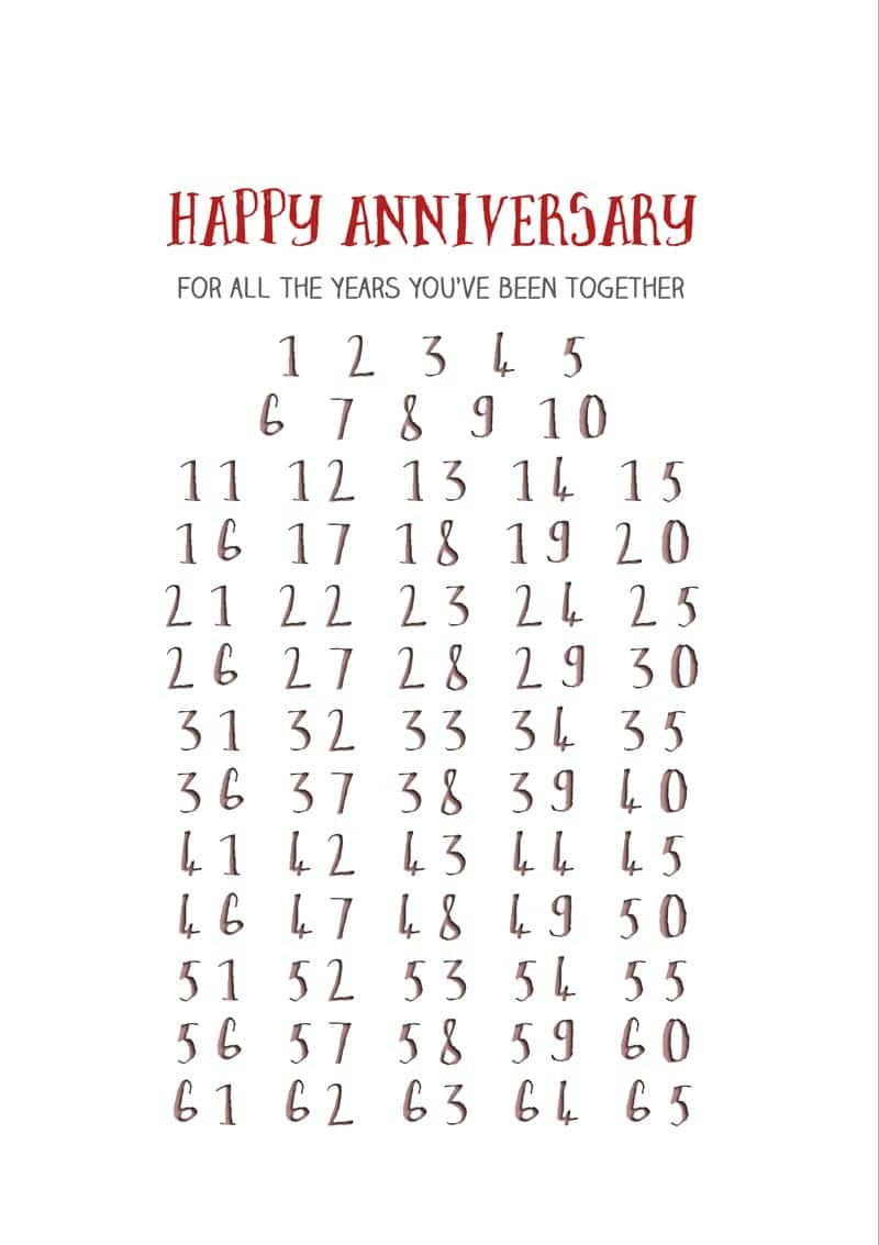 Numbers To 65 And Happy Anniversary For All The Years Youve Been