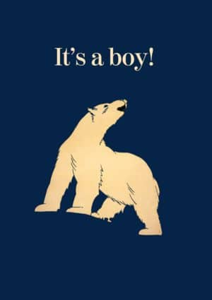 Large animal roaring with text 'It's A Boy!'