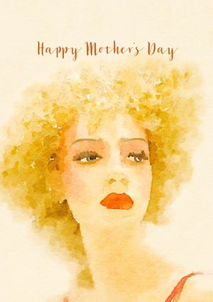 An impressionistic portrait of a woman and text 'Happy Mother's Day'