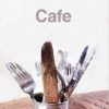 Cafe Greeting Card featuring cutlery in a tin can on a wooden table in a cafe setting with text 'Cafe'