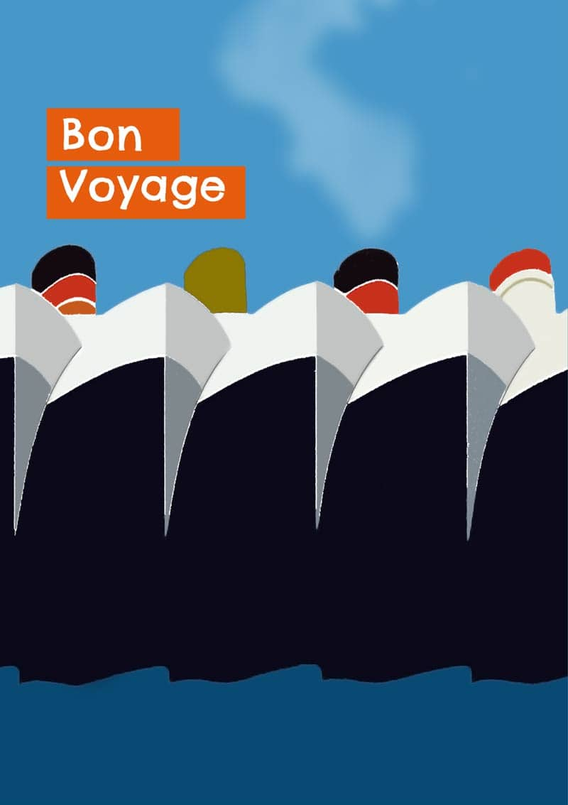 A bon voyage greeting card featuring liners and text bon voyage liners home greeting cards kristyandbryce Image collections