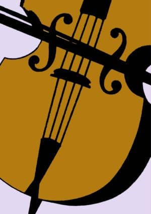 A close up of a cello and bow set against a mauve background.
