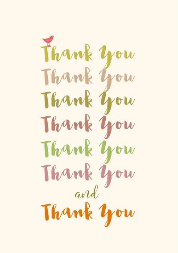 The words 'thank you' repeated in different fonts