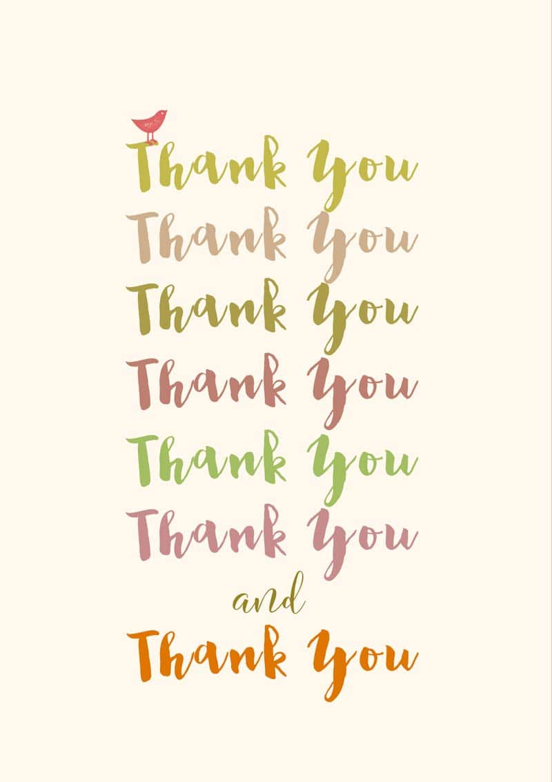 A thank you greeting card featuring the words repeated several times thank you greeting card m4hsunfo