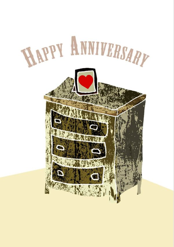 Drawers Greeting Card features a chest of drawers with a small framed heart on it and text 'Happy Anniversary'