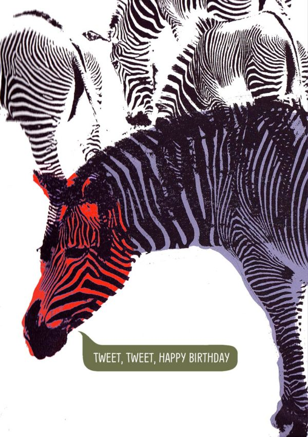 A colourful purple zebra with a red head and text 'Tweet, Tweet, Happy Birthday'