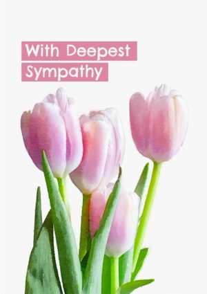 A sympathy card with a bunch of pink tulips and text 'With Deepest Sympathy'