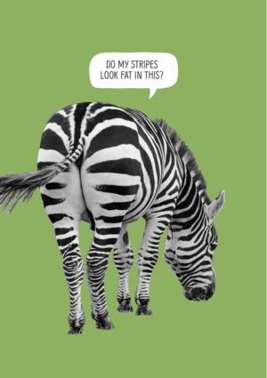 A three-quarters rear view of a zebra and text 'Do My Stripes Look Fat In This?'