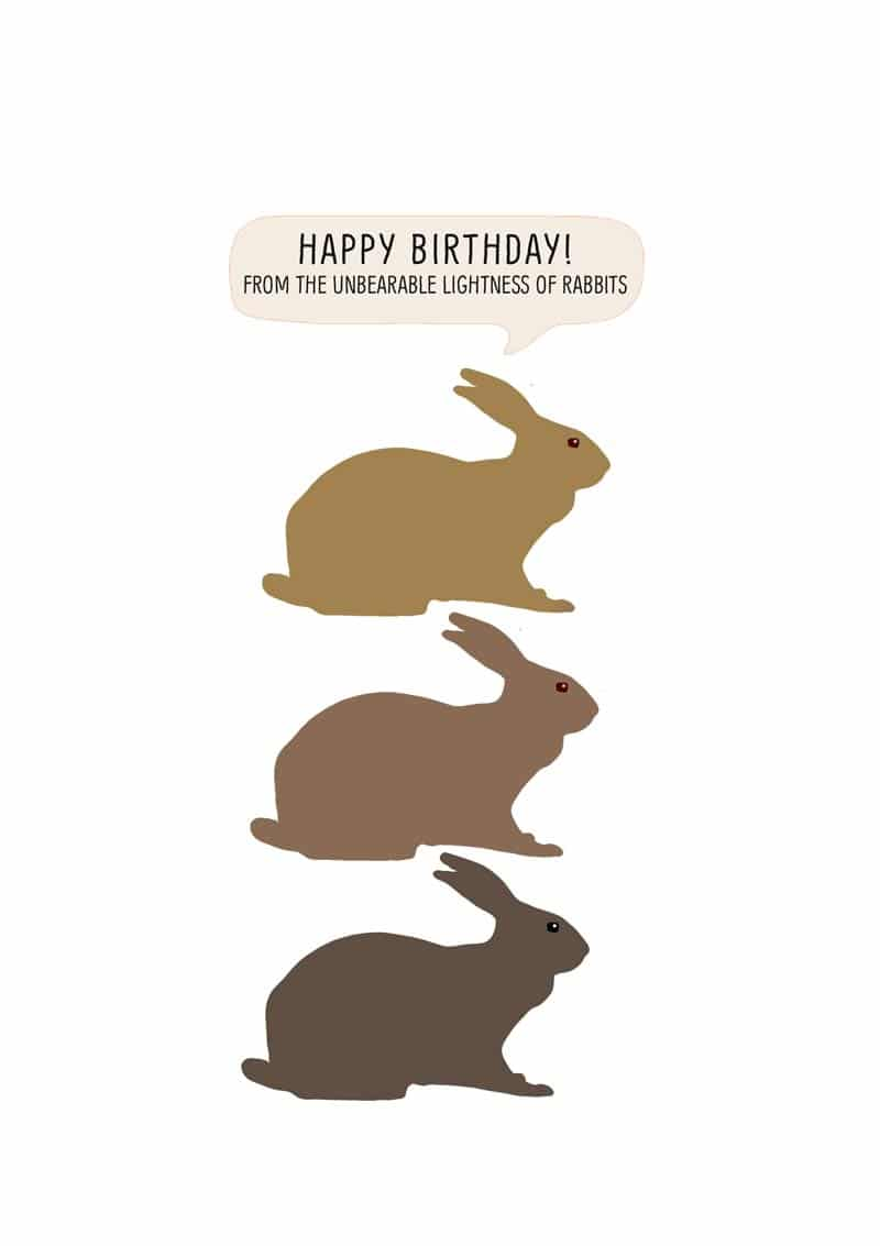 Three Illustrated Rabbits In Various Shades Of Brown One Above The Other And Text