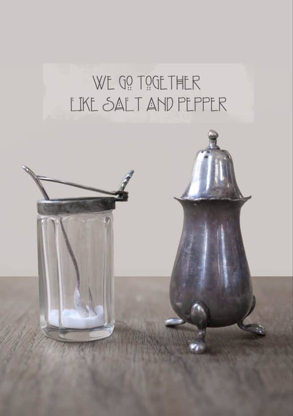 Old salt and pepper pots and text 'We Go Together Like Salt And Pepper'