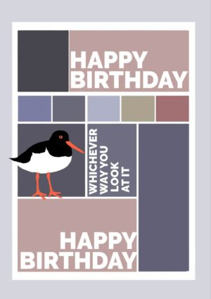An oystercatcher standing on the sand with a blue sky behind it and text 'Happy Birthday' and speech bubble with the oystercatcher saying 'Happy Birthday - Let's Party'