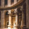 An interior view of the walls and arches of the Church Of The Holy Sepulchre in Jerusalem