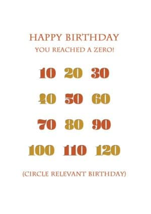 Numerals from ten through to one-hundred-and-twenty years of age with text 'Happy Birthday - You've Reached A Zero' together with instructions to the sender (or the recipient) to circle the appropriate year
