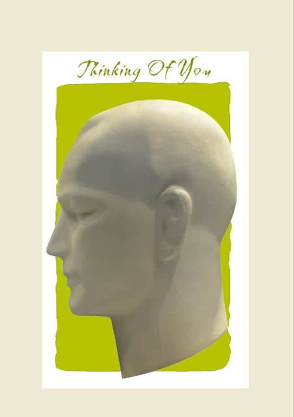 Forever is a card featuring a head in profile against a lime-green background and the words 'Thinking of you'