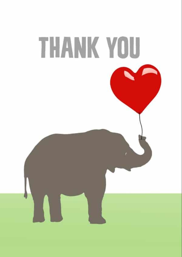 A drawing of an elephant in profile holding a big red balloon, and text 'Thank You'