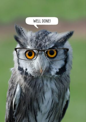 An owl wearing a pair of spectacles, with speech bubble and text 'Well Done'