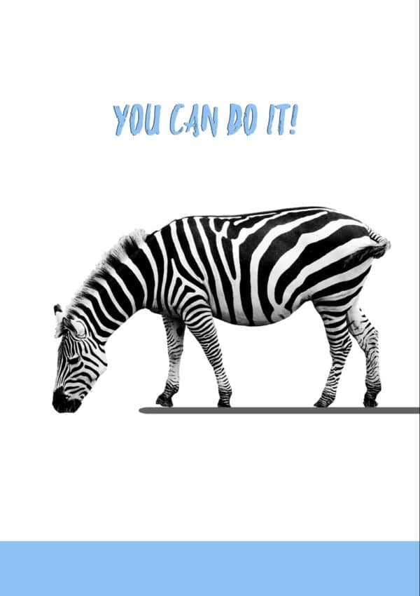A zebra on a diving board looking down at the water below, with text 'You Can Do It!'