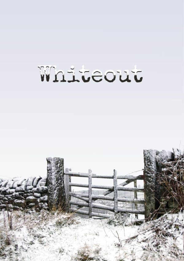 A snow-covered stone wall and a gate leading out into a field and perhaps to beyond, but obscured by a mist so thick that it is a whiteout, with text - Whiteout - in font covered in snow.