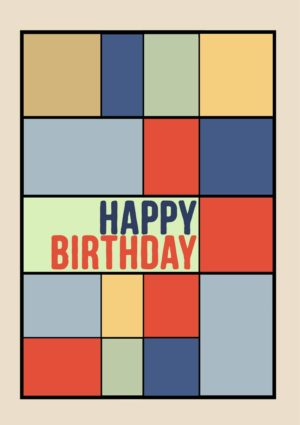 An abstract geometric design in red, yellow, and blue, with black grid lines and text 'Happy Birthday'