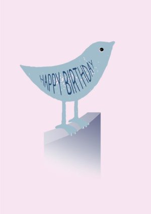 A small blue bird (a bluebird) standing on a fence with its wing formed from the text 'Happy Birthday