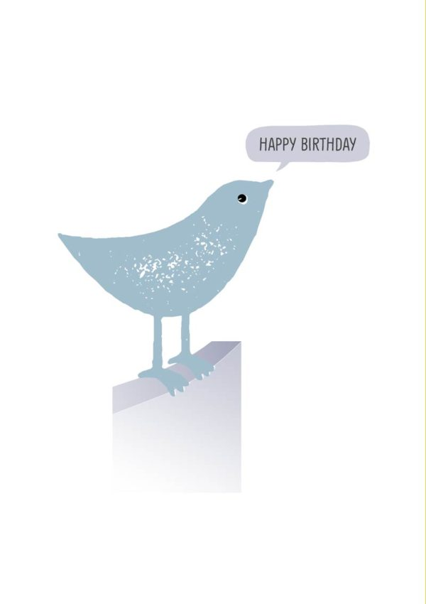 A small blue bird using a fence as a perch, with a speech bubble and text 'Happy Birthday'
