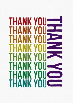 Text 'Thank You' repeated nine times in various colours set against half-tone background
