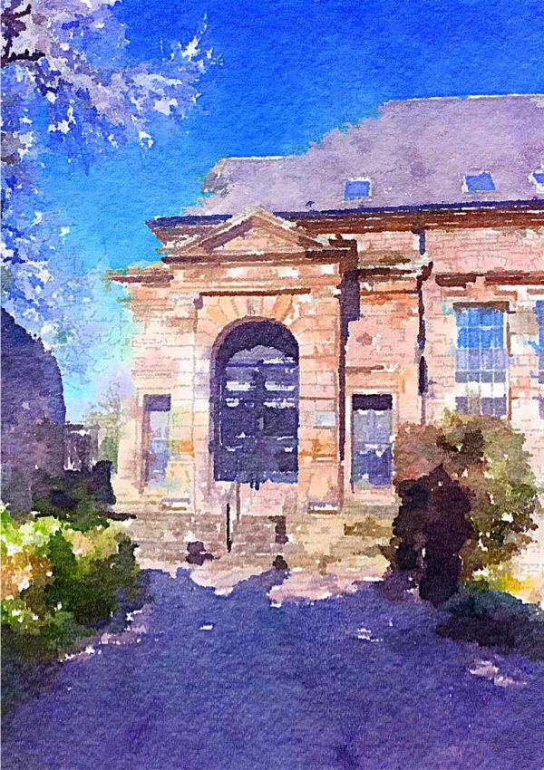 A greeting card for every day featuring grand stone building against a solid blue sky with overhanging trees and a driveway flanked by shrubs
