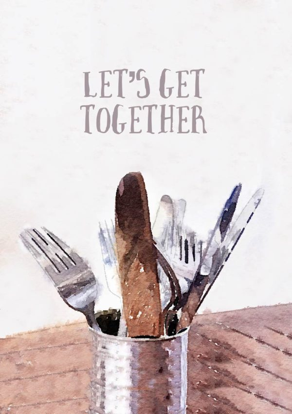 Cutlery in a can on a wooden table with text 'Let's Get Together'
