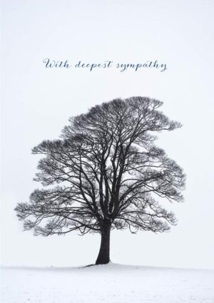 A sympathy card with a lone, leafless tree in winter against a snowy landscape, with text 'With Deepest Sympathy'