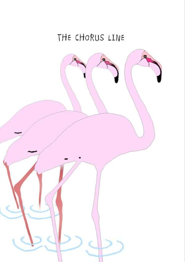 A flock of birds drawn in the style of a Matisse cutout, with a speech bubble and text 'Get Well Soon'